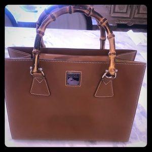 Dooney Bourke bent bamboo camel handbag